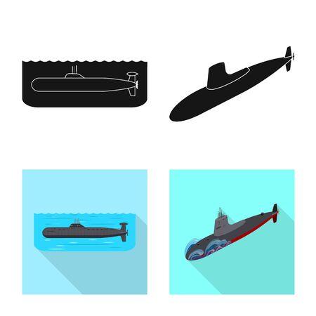 Vector design of war and ship logo. Set of war and fleet vector icon for stock.