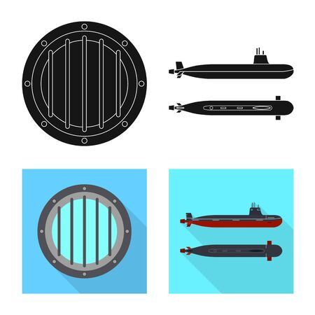 Vector illustration of war and ship icon. Set of war and fleet stock vector illustration. Illusztráció