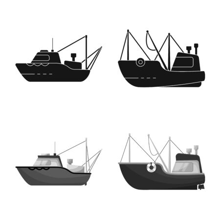 Vector illustration of transport and industrial symbol. Collection of transport and yacht stock symbol for web.  イラスト・ベクター素材