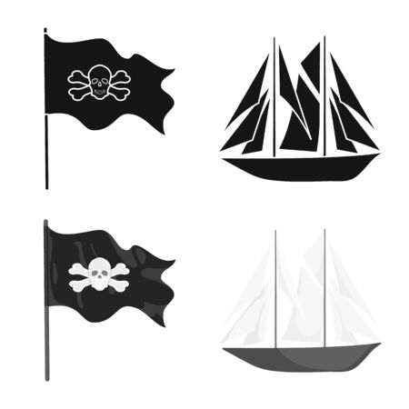 Isolated object of travel and attributes sign. Set of travel and seafaring stock symbol for web.