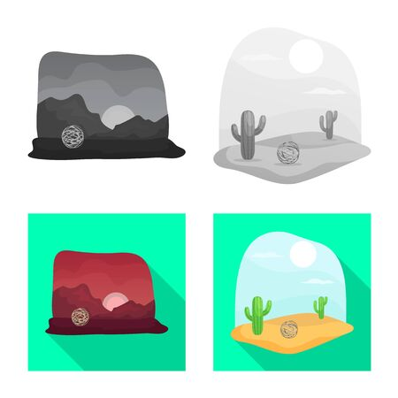Vector illustration of landscape and nature symbol. Collection of landscape and environment stock symbol for web.