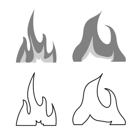 Vector illustration of bright and dangerous sign. Collection of bright and wildfire stock symbol for web. Stock Vector - 132794233