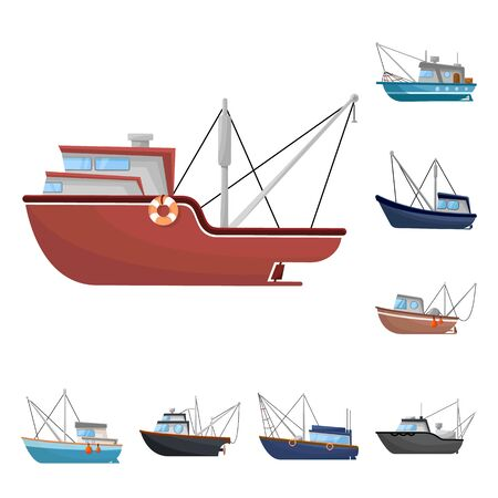 Isolated object of boat and fishing symbol. Set of boat and vessel stock vector illustration.  イラスト・ベクター素材