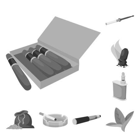 Vector illustration of equipment and smoking sign. Set of equipment and harm vector icon for stock. Vecteurs