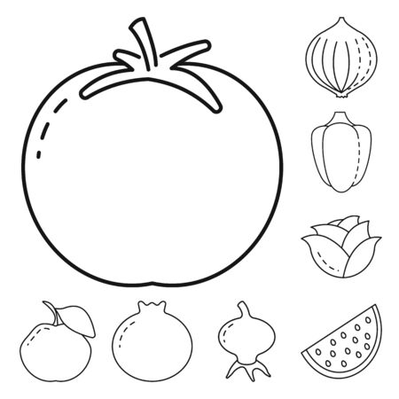 Isolated object of healthy and ripe. Set of healthy and harvest vector icon for stock. Illustration