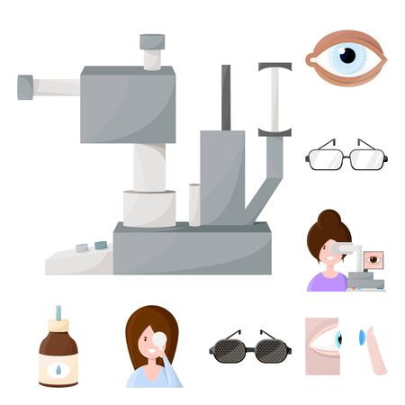 Vector illustration of vision and clinic symbol. Collection of vision and ophthalmology stock symbol for web. Standard-Bild - 132819101