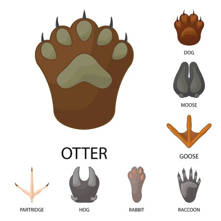 Vector design of animal and print sign. Set of animal and footprint stock symbol for web.