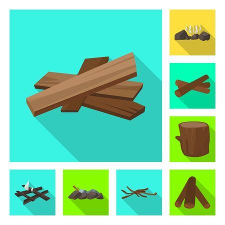 Vector design of material and logging symbol. Collection of material and forestry stock vector illustration.