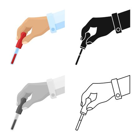 Vector design of blood and analysis sign. Graphic of blood and test vector icon for stock.