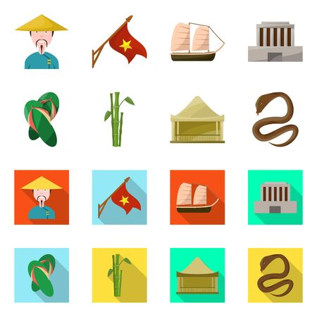 Vector illustration of vietnam and traditional icon. Collection of vietnam and culture stock vector illustration.