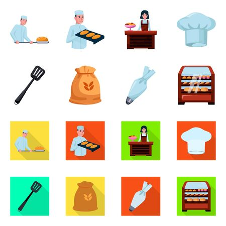 Isolated object of bakery and natural sign. Set of bakery and business stock symbol for web. Ilustração