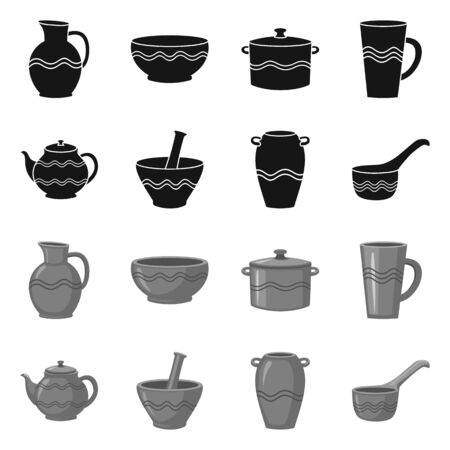 Vector illustration of pottery and ware. Collection of pottery and clayware stock symbol for web.  イラスト・ベクター素材