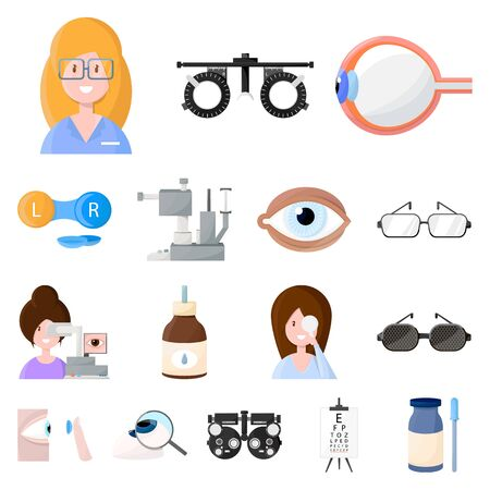 Isolated object of vision and clinic. Collection of vision and ophthalmology vector icon for stock.