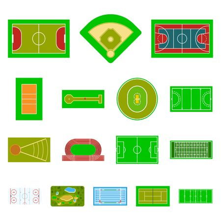 Isolated object of field and plan. Set of field and grass stock symbol for web. Illustration