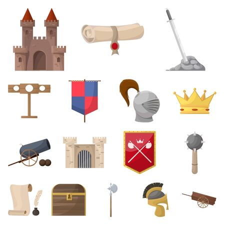 Vector design of medieval and history sign. Set of medieval and tournament stock vector illustration.
