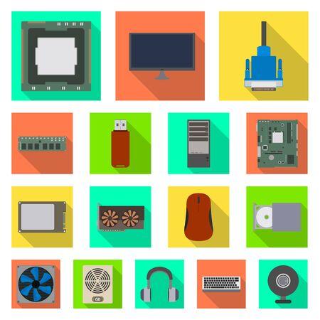 Diseño vectorial de accesorios y símbolo del dispositivo. Colección de accesorios e icono de vector de electrónica para stock.