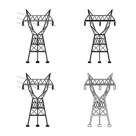Isolated object of electrical and station sign. Graphic of electrical and transmit vector icon for stock.