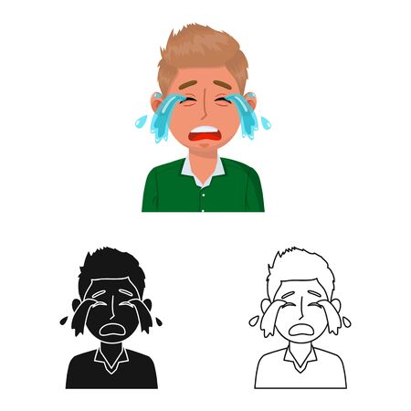 Vector illustration of guy and cry. Set of guy and tears stock vector illustration.