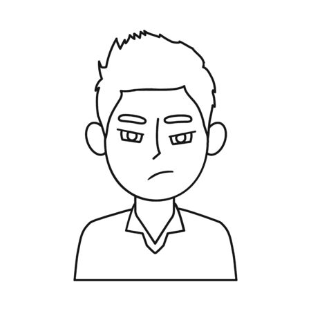 Vector illustration of guy and anger icon. Set of guy and emotion vector icon for stock.