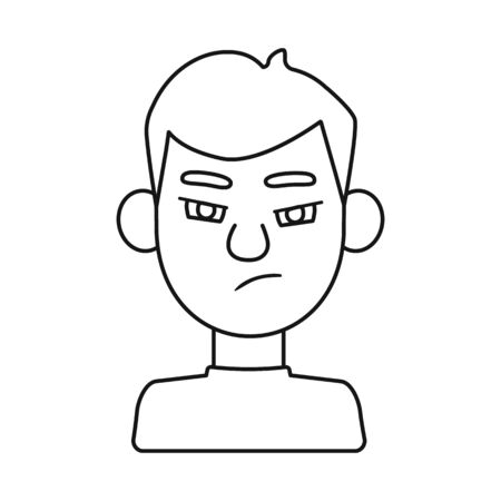 Vector design of guy and anger sign. Collection of guy and emotion stock vector illustration.