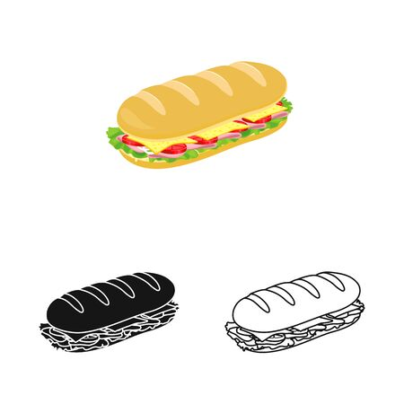 Vector illustration of bun and burger icon. Graphic of bun and lettuce stock vector illustration. 矢量图像