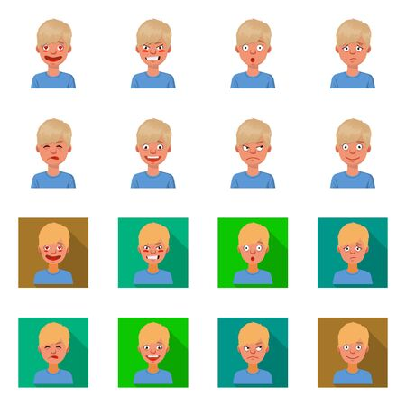 Vector design of face and boy logo. Set of face and young stock symbol for web.
