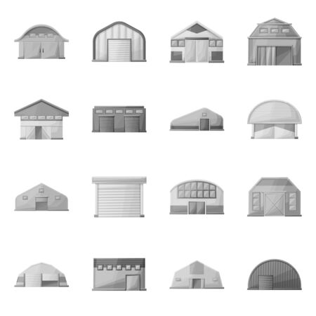Vector design of barn and farm symbol. Set of barn and architecture stock symbol for web.