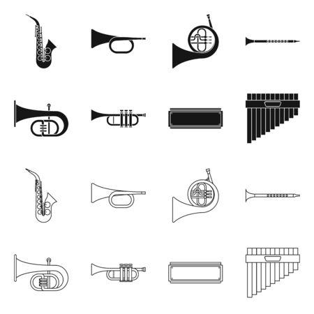 Vektorillustration des Konzerts und des klassischen Symbols. Set von Konzert- und Ausrüstungsvektorsymbolen für Lager. Vektorgrafik