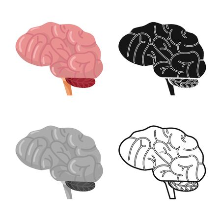 Isolated object of brain and human icon. Web element of brain and idea stock vector illustration.  イラスト・ベクター素材