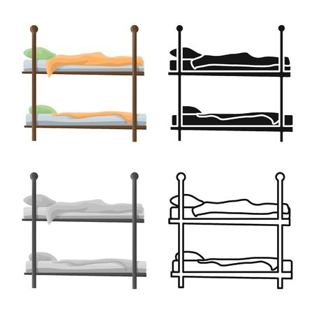 Vector design of bunkbed and bed sign. Graphic of bunkbed and bunk stock symbol for web.