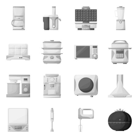 Vector design of kitchen and device icon. Collection of kitchen and tool stock vector illustration.