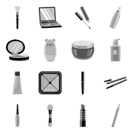 Isolated object of makeup and product sign. Set of makeup and cosmetology vector icon for stock.
