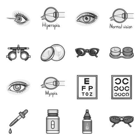 Vector illustration of vision and correction icon. Set of vision and optometry vector icon for stock.