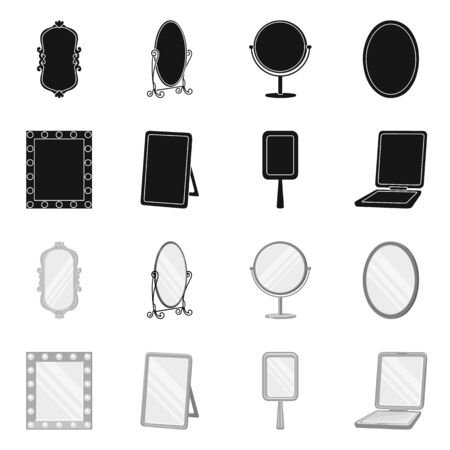 Vector illustration of reflect and piece icon. Collection of reflect and furniture stock vector illustration.