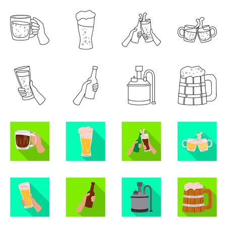 Isolated object of bar and oktoberfest icon. Collection of bar and pint stock vector illustration.