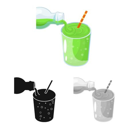 Isolated object of soda and glass symbol. Collection of soda and lemonade stock symbol for web.