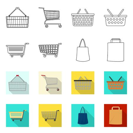 Vector illustration of pushcart and cart symbol. Collection of pushcart and market vector icon for stock. Vectores