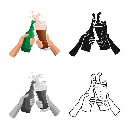 Vector design of beer and glass icon. Graphic of beer and hand stock vector illustration.