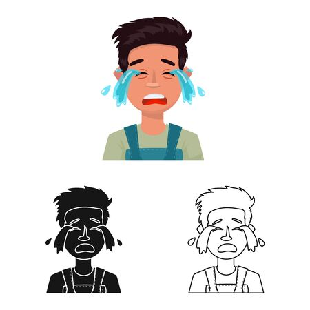 Vector illustration of guy and cry icon. Set of guy and tears stock symbol for web.