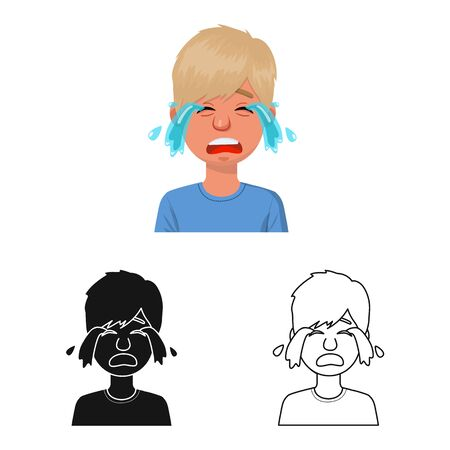 Vector design of guy and cry icon. Set of guy and tears stock symbol for web. Иллюстрация