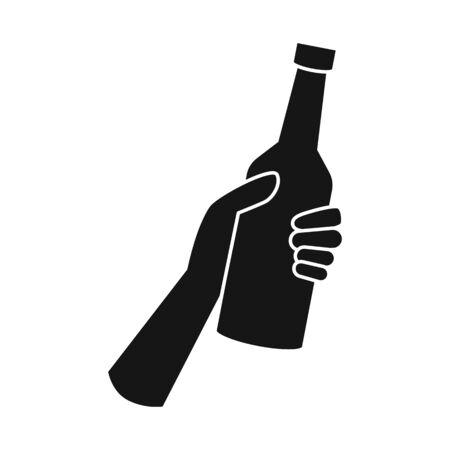 Isolated object of bottle and beer icon. Graphic of bottle and glass vector icon for stock. Illusztráció