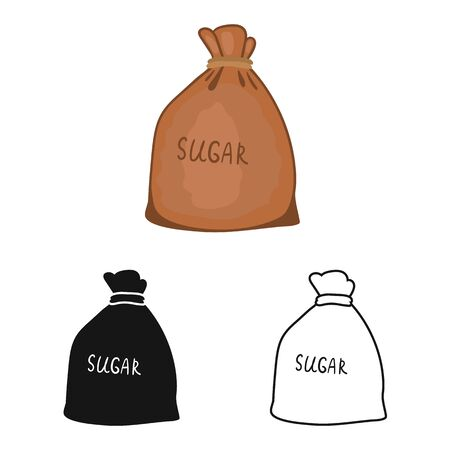 Vector design of bag and sugar sign. Graphic of bag and powder stock symbol for web.