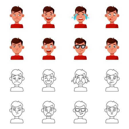 Vector design of face and boy symbol. Collection of face and human stock symbol for web.