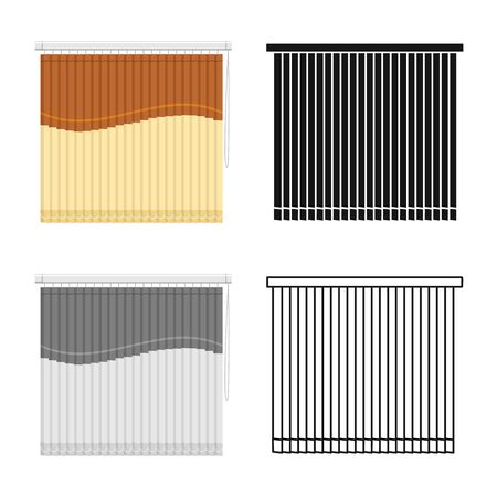 Vector illustration of blinds and casement symbol. Graphic of blinds and room stock vector illustration.