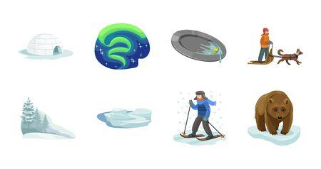 Alaska vector cartoon set.Vector illustration of north eskimo and ice arctic inuit igloo .North alaska with ice igloo.Eskimo and inuit cartoon icon. Фото со стока - 133334020