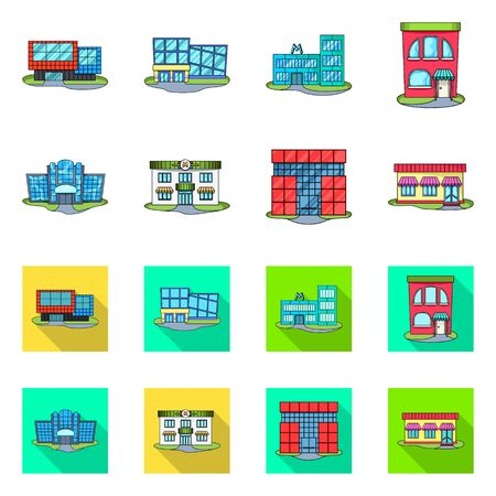 Isolated object of supermarket and building sign. Set of supermarket and local stock vector illustration. Çizim