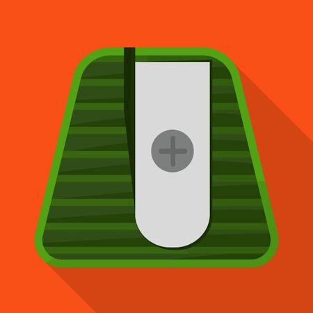Vector design of sharpener and sharpen icon. Web element of sharpener and green vector icon for stock.