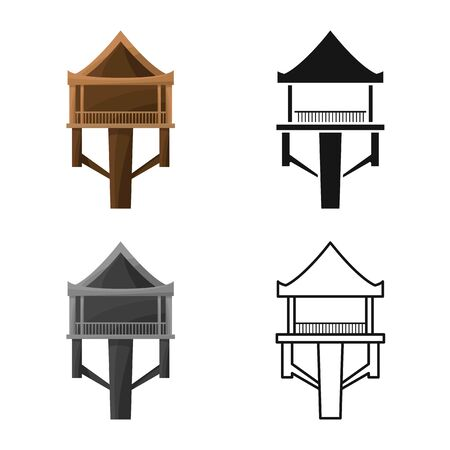 Vector design of stilts and wood icon. Collection of stilts and patio stock vector illustration.