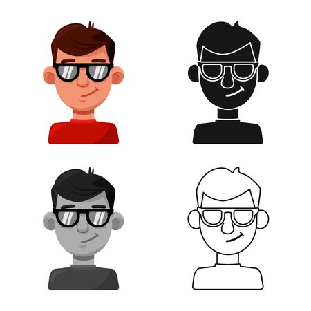 Vector design of guy and contempt sign. Collection of guy and glasses stock vector illustration.