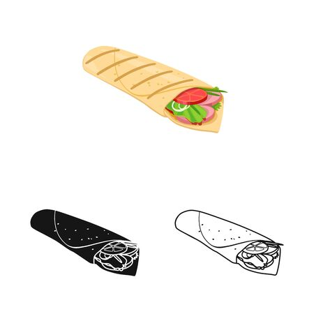 Vector illustration of shawarma and roll symbol. Graphic of shawarma and food vector icon for stock.